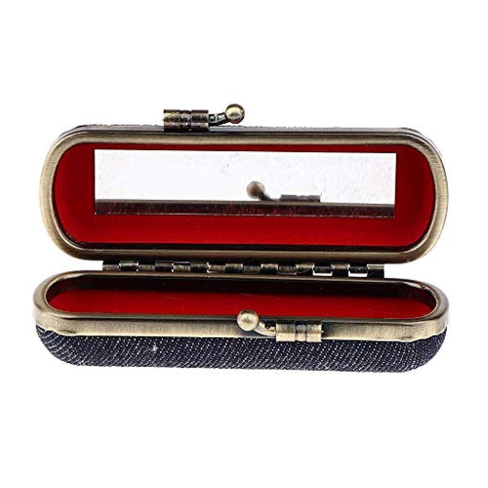 かび臭い乳製品歩行者T TOOYFUL 全4色選択 口紅収納ケース ホルダー ボックス 口紅ケース ミラー付き 携帯用 - ブラックブルー