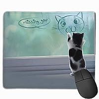 マウスパッド 片思い ねこ グレー ゲーミング オフィス最適 おしゃれ 疲労低減 滑り止めゴム底 耐久性が良い 防水 かわいい PC MacBook Pro/DELL/HP/SAMSUNGなどに 光学式対応 高級感プレゼント VAMIX