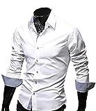 【 Smaids×Smile 】 ボタン スリム メンズ 長袖 チェック フィット ワイシャツ カジュアル ドレス ( ホワイト , XXL )