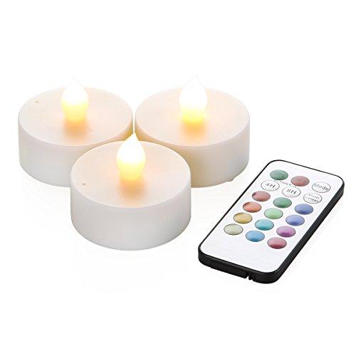 RoomClip商品情報 - WY 12色LEDティーライトキャンドル[3個セット]リモコン付 4h/8hタイマー機能 照明モード切替 WY-LEDSET004-3