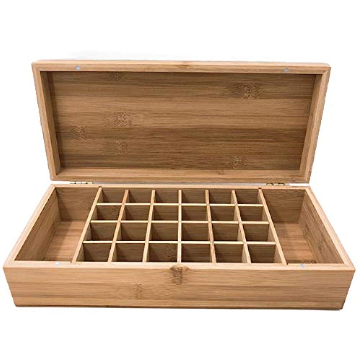 白雪姫お手入れアテンダントエッセンシャルオイル収納ボックス エッセンシャルオイルストレージボックスアロマセラピー油ボトル33.5x15x8.3cmのために26個のスロット木製主催キャリングケース (色 : Natural, サイズ : 33.5X15X8.3CM)