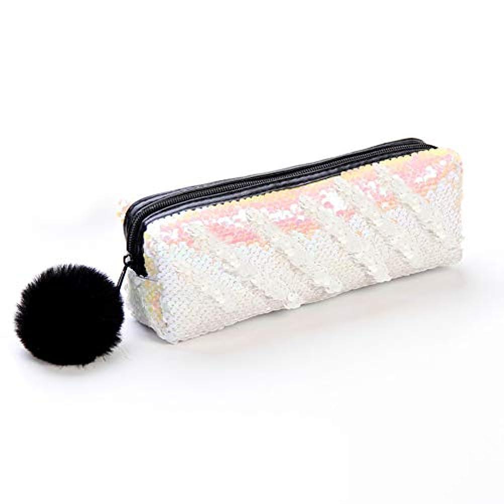 金曜日ハング避難ハンドバッグ耐久性のある筆箱カラフルなスパンコールトラベルバッグ絶妙な化粧品バッグ(マットブラック)