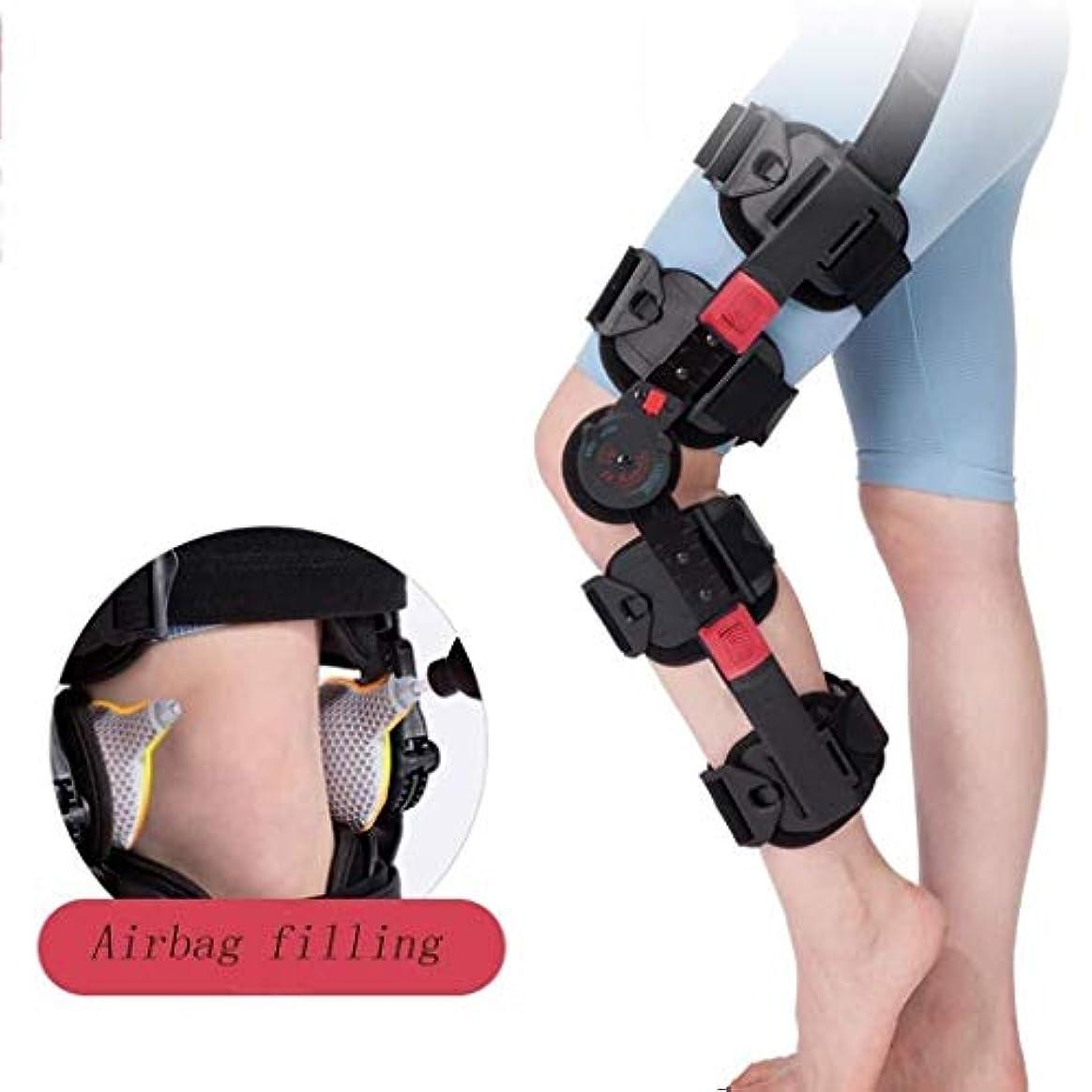 サワー心配スリップシューズヒンジ式ROM膝ブレース、調節可能なポストOP膝蓋骨ブレースサポートスタビライザーパッド装具スプリントラップ医療用整形外科用ガードプロテクター