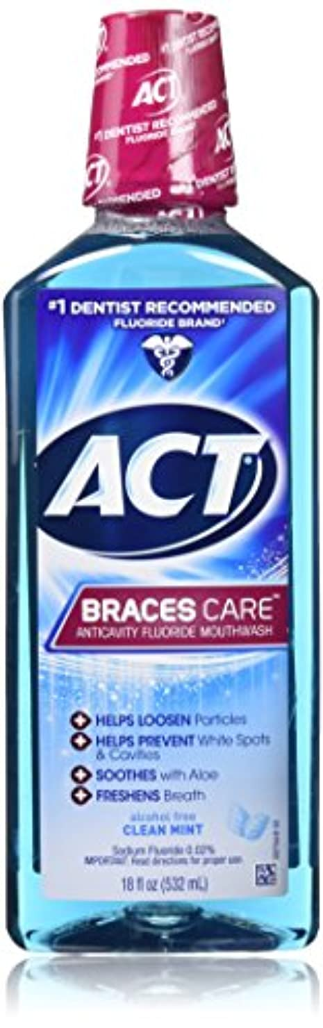 毒ベルベット緊張するACT Braces Care Ant-Cavity Fluoride Mouthwash, Clean Mint, 18 Ounce by ACT