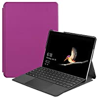 高品質Microsoft Surface Go用手帳型レザーケース 保護カバー マグネットの止め 全方位保護スタンドカバー キーボード付けたまま収納可 便利なペンホルダー付き 軽量 薄型 傷つけ防止 全11色可選 (パープル)