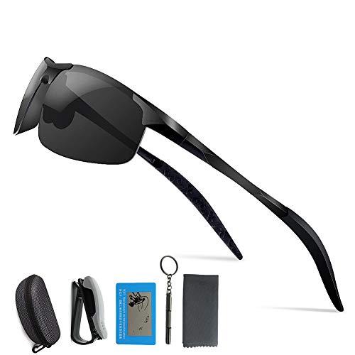 偏光レンズ AIDUE 偏光サングラス スポーツサングラス メンズスポーツ UV400紫外線カット 超軽量 アルミニウム 前掛けクリップ式サングラス ドライブ/釣り/野球/自転車/ランニング/ゴルフ/運転 男女兼用 … (ブラック)