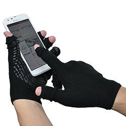 ミドリ安全 【指先を、スライドできる】 あったかスライドタッチ手袋Ⅱ ブラック L