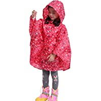 DNSJB Kids Rain Hooded Rain Poncho Coat Waterproof Children's Cloak Breathable Poncho Girls Raincoat with Easy Carry Pouch (Size : L)