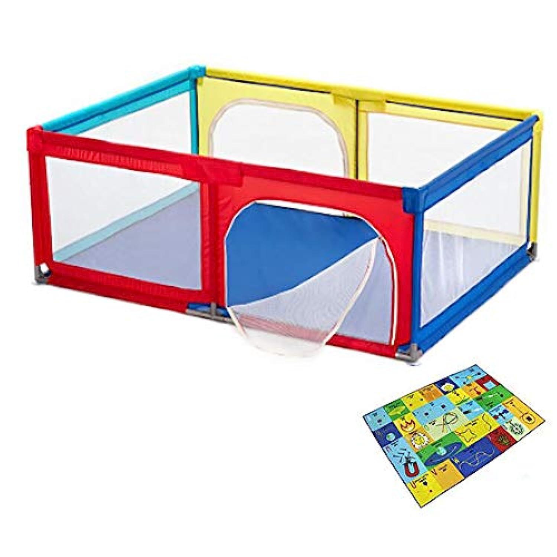 ベビーフェンス ベビープレイペンキッズアクティビティセンター安全プレイヤードホームフットルース屋内屋外多色フェンス健康的な安全設計 (色 : Playpen+crawling mat)