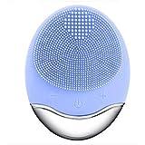 シリコーン電気クレンジング器具、洗顔毛穴クリーナーマッサージフェイス、イントロデューサー + クレンジング器具 (1 つ2個),Blue
