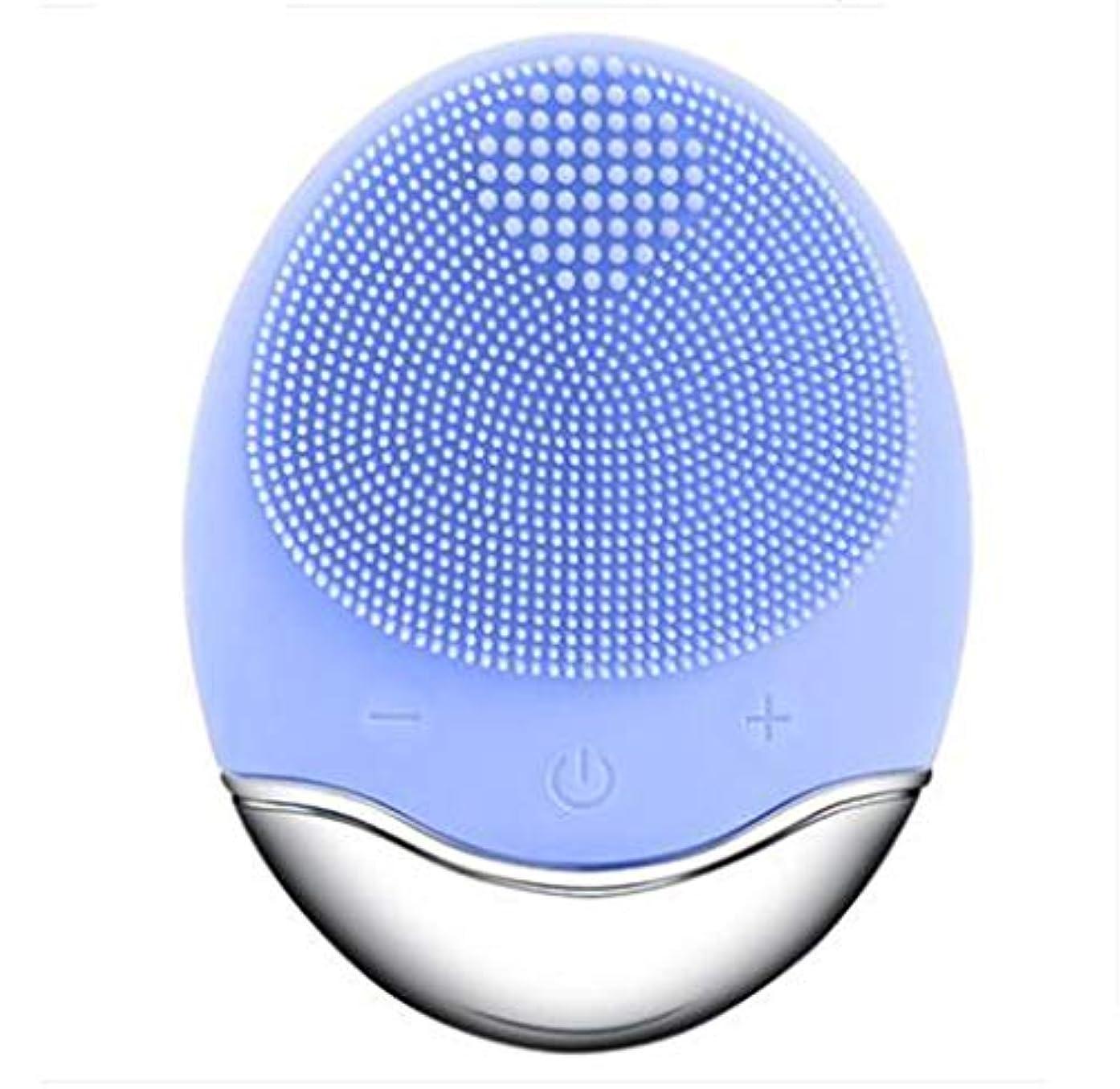 ハック元気な縁石シリコーン電気クレンジング器具、洗顔毛穴クリーナーマッサージフェイス、イントロデューサー + クレンジング器具 (1 つ2個),Blue