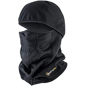 AstroAI バイク マスク 防寒 フリースマスク フェイスマスク バラクラバ 目だし帽 ネックウォーマー 保温 ブラック (1Pack)
