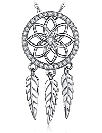 JewelryPalace Bohemian Dream Catcher Cubic Zirconia Boho Feather Pendant 925 Sterling Silver 45 CM Box Chain