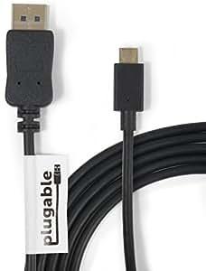 "Plugable USB 3.1 Type C (USB-C) - DisplayPort 変換ケーブル - 1.8m、Retina MacBook 12"" 2015/2016、新 2016年 MacBook Pro、Chromebook Pixel 2015、Dell XPS 2016、Thunderbolt™ 3 搭載システム等に対応 - 最大解像度3840x2160@60Hz"