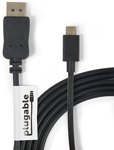 "Plugable USB 3.1 Type C (USB-C) - DisplayPort 変換ケーブル - 1.8m、MacBook 12"" Retina 2015/2016、MacBook Pro 2016/2017、Chromebook Pixel 2015、Dell XPS 2016、Thunderbolt™ 3 搭載システム等に対応 - 最大解像度3840x2160@60Hz"