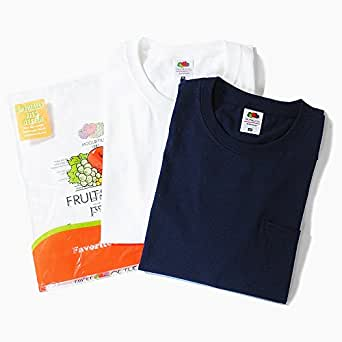 フルーツオブザルーム (FRUIT OF THE LOOM) ポケット付き Tシャツ 2枚セット メンズ USAコットン 無地 半袖 (S, ホワイト×ネイビー)