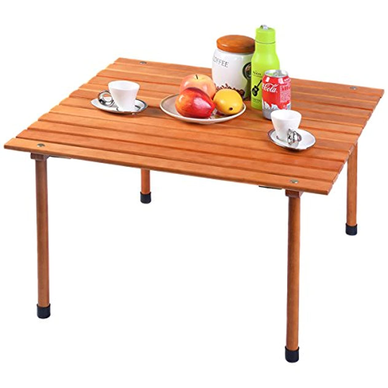 解任葉を拾うブリリアントchonlakrit Wood Roll Upテーブル折りたたみキャンプアウトドアインドアピクニックW/バッグ