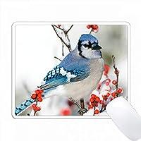 ブルージェイ(Common Winterberry)、冬、マリオン社(Marion Co.) PC Mouse Pad パソコン マウスパッド