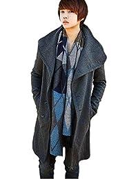 (ケイグラッソ) キレイめ ロング Pコート 英国 スタイル アウター ジャケット メンズ ブラック ネイビー グレー L XL