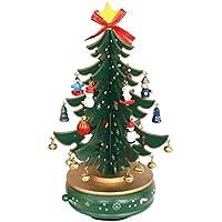 クリスマス オルゴール クリスマスツリー 音楽ベル回転ツリー 木製 かわいい ハイエンドオルゴール 木の装飾 クリスマスの装飾 新年の贈り物 赤 緑