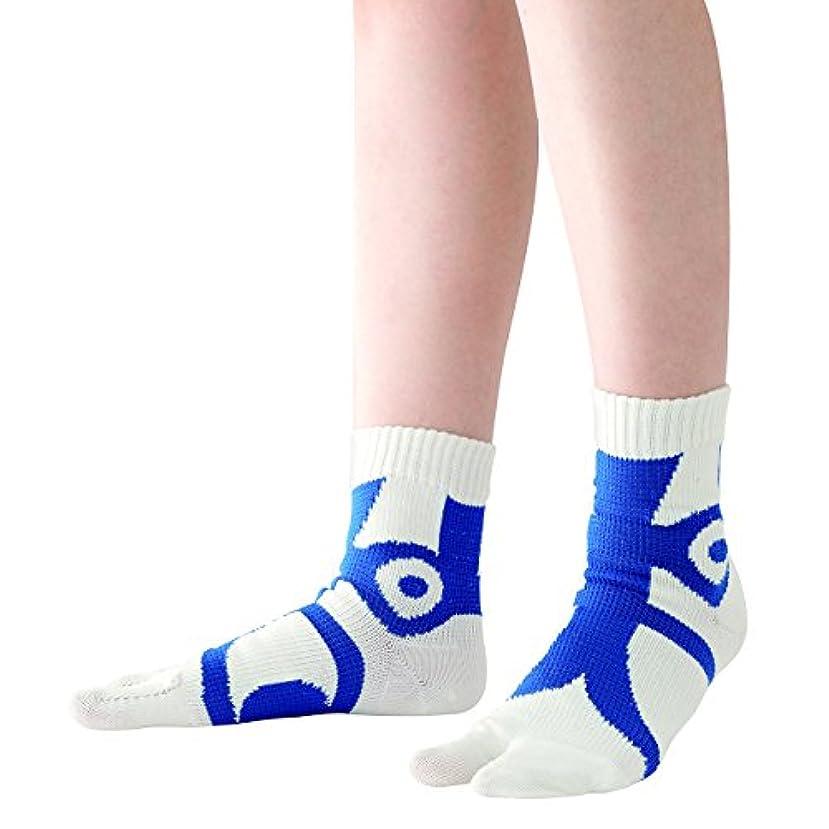 均等にフラップ回転させる快歩テーピング靴下 ホワイト×ブルー