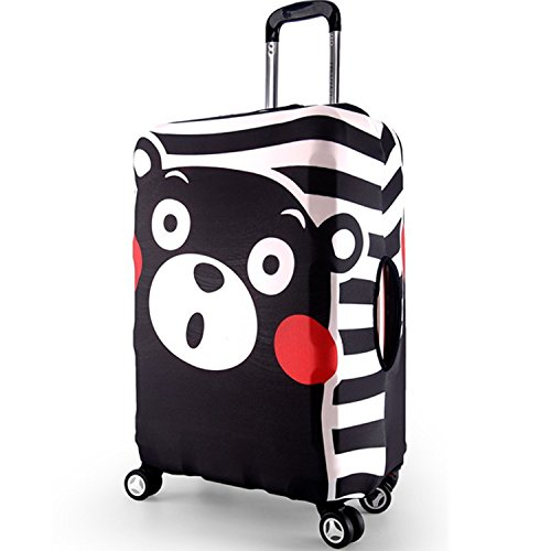 JUSH スーツケースカバー 盗難防止 水着 ラゲッジ保護カバー 海外旅行 修学 伸縮性 (XL, ブラック熊本)