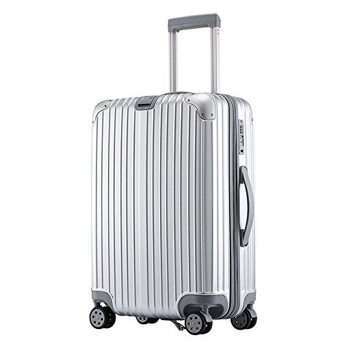 スーツケース 軽量 中型M ダブルキャスター 8輪 TSAロック カラフル ハードキャリー ファスナータイプ キャリーバッグ キャリーケース (M(3~5泊58L), シルバー)