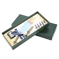 羽ペン フェザーペン 自然な羽と合金 材質 素敵な人工フェザー書道のペンセット、創造的なオフィス用品(ブルー)
