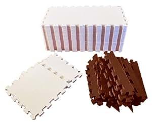 リトルプリンセス Little Princess 抗菌フロアーマット ツートンカラーセンターベージュ (正方形マット36枚、エッジマット16枚、コーナーマット8枚)