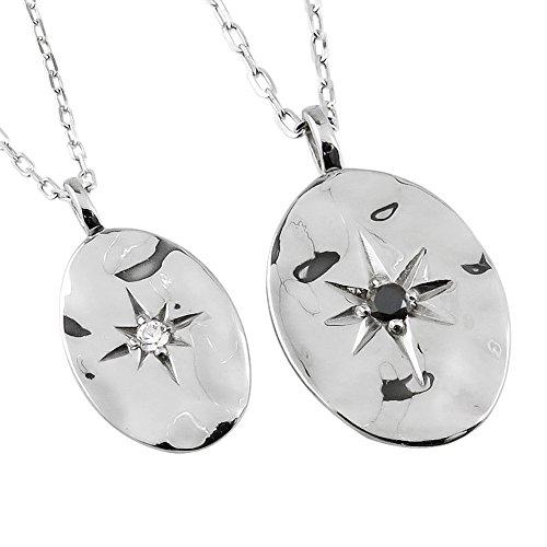 [ジュエリーアイ] ペアネックレス プラチナ オーバル形 ダイヤモンド ブラックダイヤモンド Pt 2本セット 結婚記念