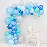 バルーンアーチ&ガーランドキット - ブルー80個、シルバー&ティファニー - SmからXLサイズのバルーン - グルードット&デコレーションストリップ - 結婚式、男の子のベビーシャワー、卒業式、記念日&オーガニックパーティーデコレーション