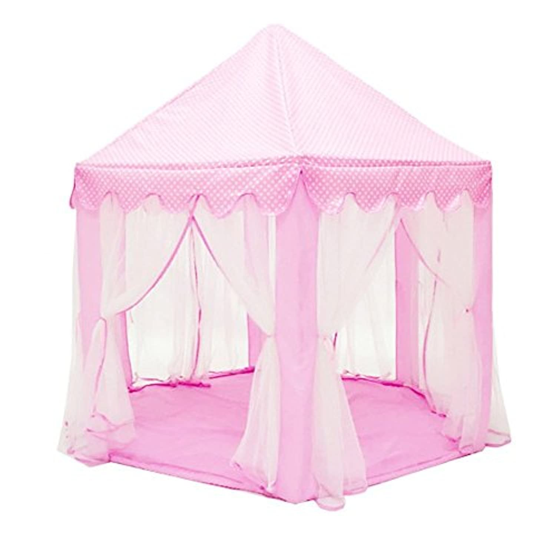 Eyotool夏Playing Houseピンクプリンセス城Kids Teepee Tentアウトドア、インドアベビーPlayhouse withカラフルスターライト文字列for Children 2年以上、55 x 53インチ