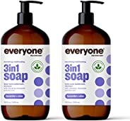 Everyone 3-in-1 Soap: Shampoo, Body Wash, and Bubble Bath, Lavender and Aloe, 32 Ounce, 2 Count- Packaging May