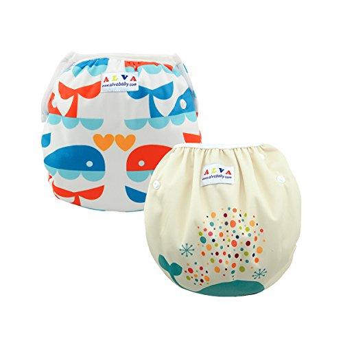 ALVABABY 赤ちゃん 水着 再利用可能 防水 スイム布...