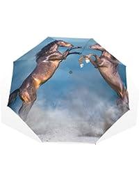 AOMOKI 折り畳み傘 折りたたみ傘 手開き 日傘 三つ折り 梅雨対策 晴雨兼用 UVカット 耐強風 8本骨 男女兼用 うま
