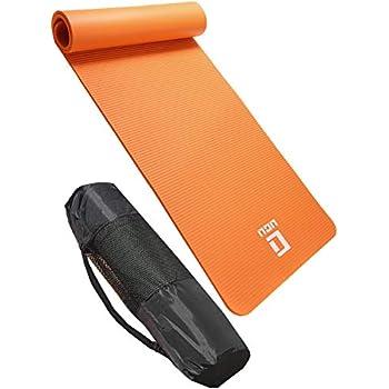 LICLI ヨガマット おりたたみ トレーニングマット エクササイズマット ヨガ ピラティス マット 厚さ 10mm 「 ストラップ 収納ケース付 」「 ニトリルゴム 滑り止め マットバッグ 」 11カラー (オレンジ)