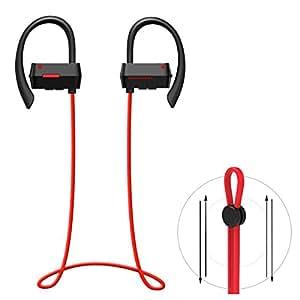 【メーカー1年保証】North Crown NC-300 Bluetooth イヤホン BT ver 4.1 ワイヤレスイヤホン マイク内蔵 ハンズフリー 通話 ノイズキャンセリング搭載 防汗 高音質スポーツイヤホン 技適認証済 (ブラック&レッド)