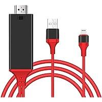 iPhone テレビ 接続ケーブル Lightning HDMI 変換ケーブル ライトニング HDM 変換アダプタ 設定不要 アイフォンをテレビに映す 音声同期出力 HD1080P高解像度 iPhone iPad ipod 対応 iOS11対応(ブラック)