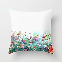 クッションカバー 45×45 おしゃれ グレー 花柄 刺繍 北欧 背当て抱き枕カバー やさしい肌触り インテリア 草原