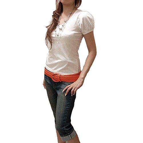 パフスリーブTシャツ パフスリーブカットソー 無地 白 ホワイト トップス レース 半袖 カットソー sサイズ t-shirts Tシャツ