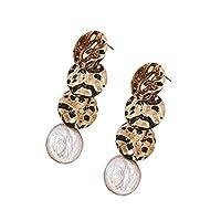 LKJASDHL 幾何学的なイヤリング真珠のイヤリングスターリングシルバーのイヤリングイヤリング真珠のダングル (色 : 2)