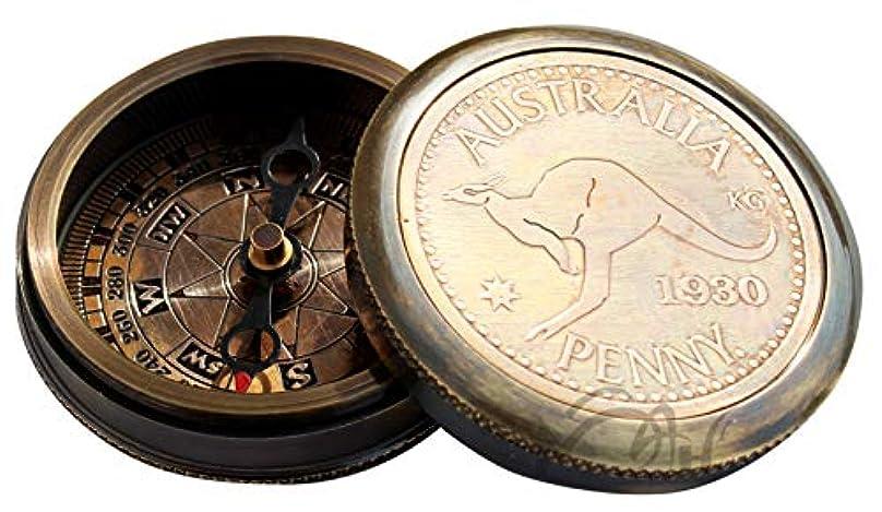 リス政治的やるPenny 1930 Connectable真鍮コンパス、レザーケース。c-3010