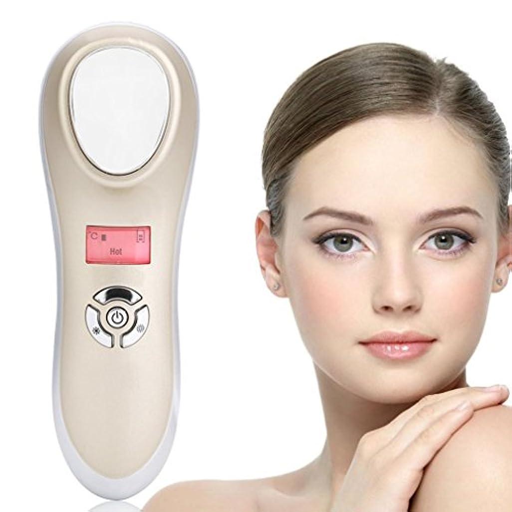 あごひげ対称お世話になった美の器械、携帯用手持ち型の音波再充電可能なイオン顔のマッサージャーの熱くそして冷たい機械スキンケア装置