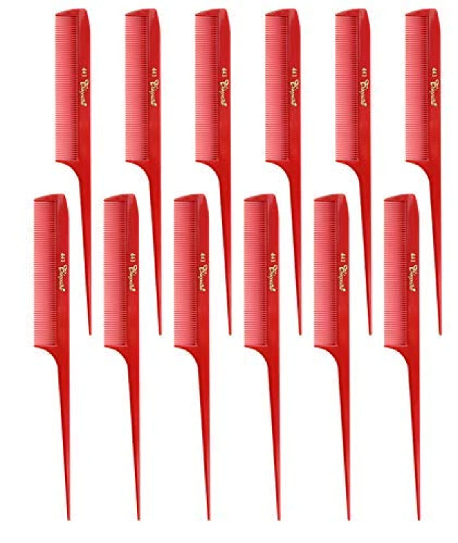 狂気アンテナよく話されるKrest Cleopatra 8-1/2 inch Rattail Combs Extra Fine Tooth. Rat Tail comb Model #441 Color Red. 1 Dozen [並行輸入品]