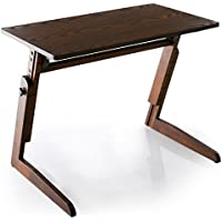 LOWYA (ロウヤ) テーブル 6段階 昇降テーブル 角度調整 高さ調節 伸縮 サイドテーブル デスク 天然木 突板 介護 コンパクト ブラウン おしゃれ 新生活