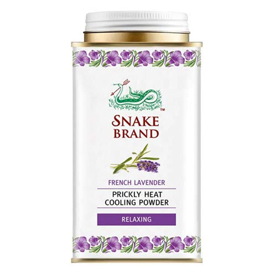 関税聡明行くSnake Brand Prickly Heat Cooling Powder, good for heat rash 140 g. (French Lavender)
