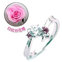 【SUEHIRO】 (婚約指輪) ダイヤモンド プラチナエンゲージリング(10月誕生石) ピンクトルマリン(日比谷花壇誕生色バラ付) #12