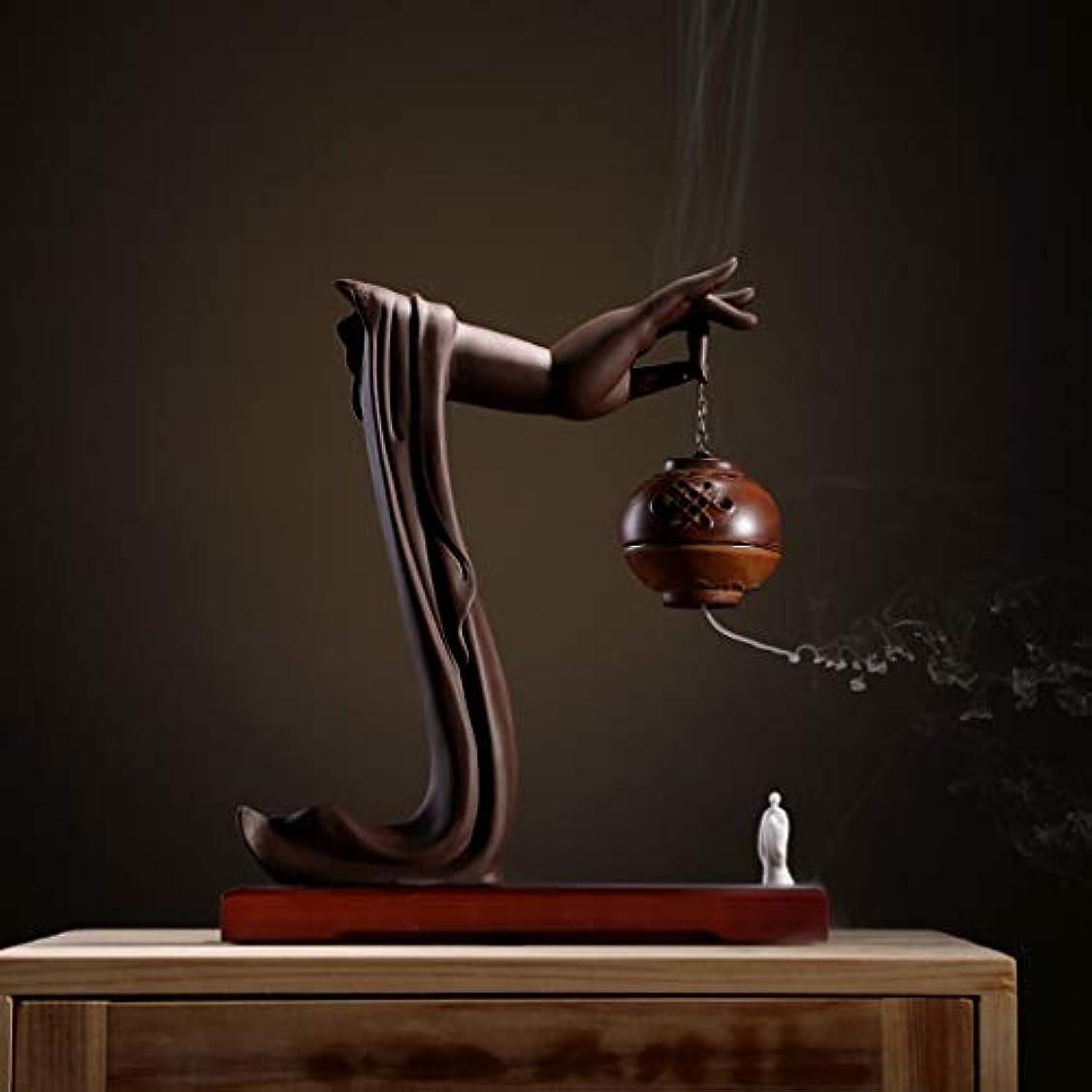 弁護人種類信号手動逆流香バーナーロータス/僧侶逆流香バーナーコーンコーンブラケットホームデスクトップの装飾L28cm×W9.5cm×H33cm (Color : Brown incense burner)