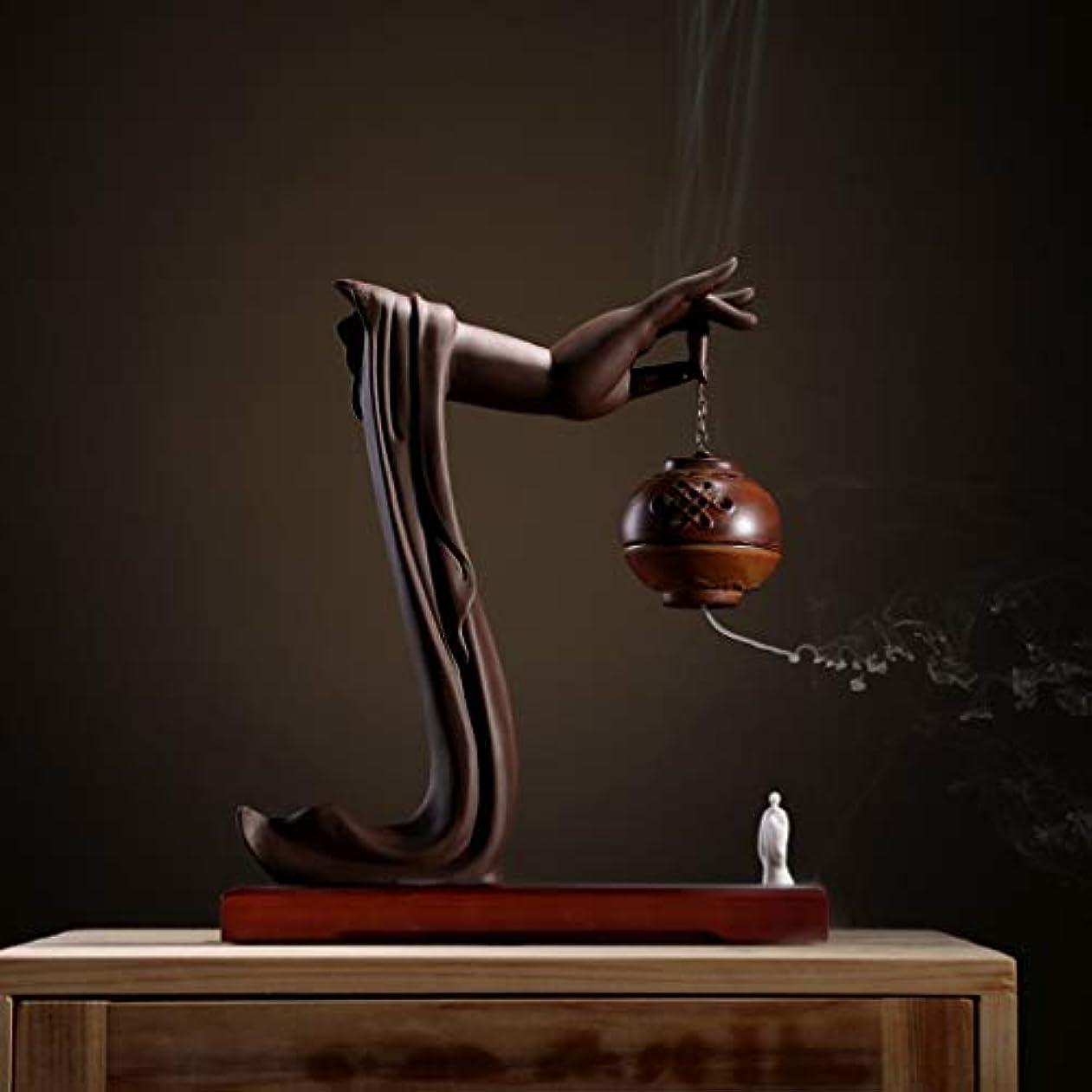 番目スピーカーカブ手動逆流香バーナーロータス/僧侶逆流香バーナーコーンコーンブラケットホームデスクトップの装飾L28cm×W9.5cm×H33cm (Color : Brown incense burner)