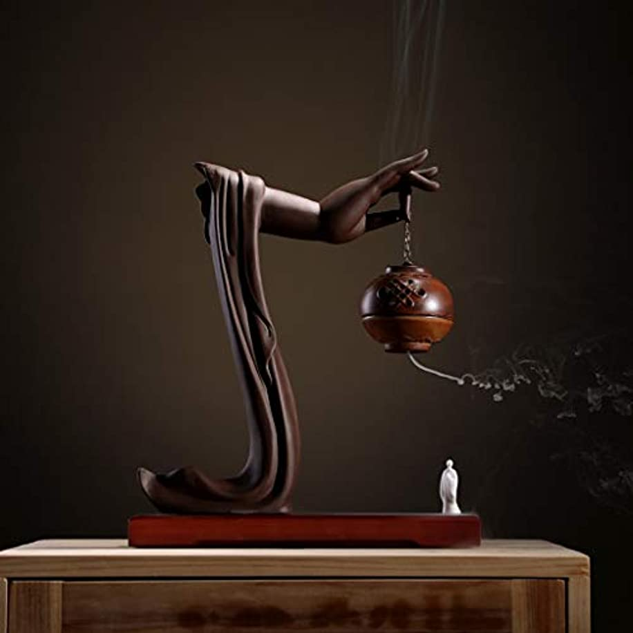 初期スカーフ牧師手動逆流香バーナーロータス/僧侶逆流香バーナーコーンコーンブラケットホームデスクトップの装飾L28cm×W9.5cm×H33cm (Color : Brown incense burner)